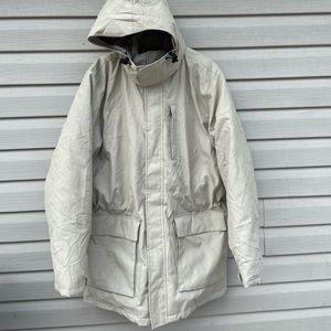 Lands End Womens Large Parka Tan Full Zip